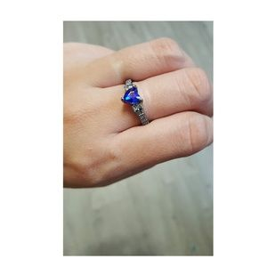 Blue Sapphire Heart Silver Ring